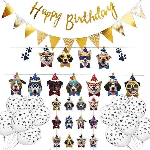 Amosfun Pancarta de cumpleaños para perro, decoración para ...