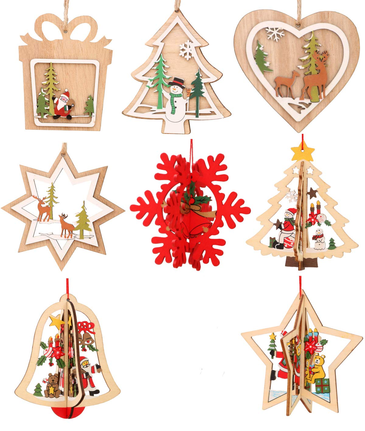 Hanging Christmas Decorations.Ironbuddy Christmas Tree Hanging Ornaments Decorations Wooden Hanging Tags Pendant Ornaments For Christmas Decorations Pack Of 8