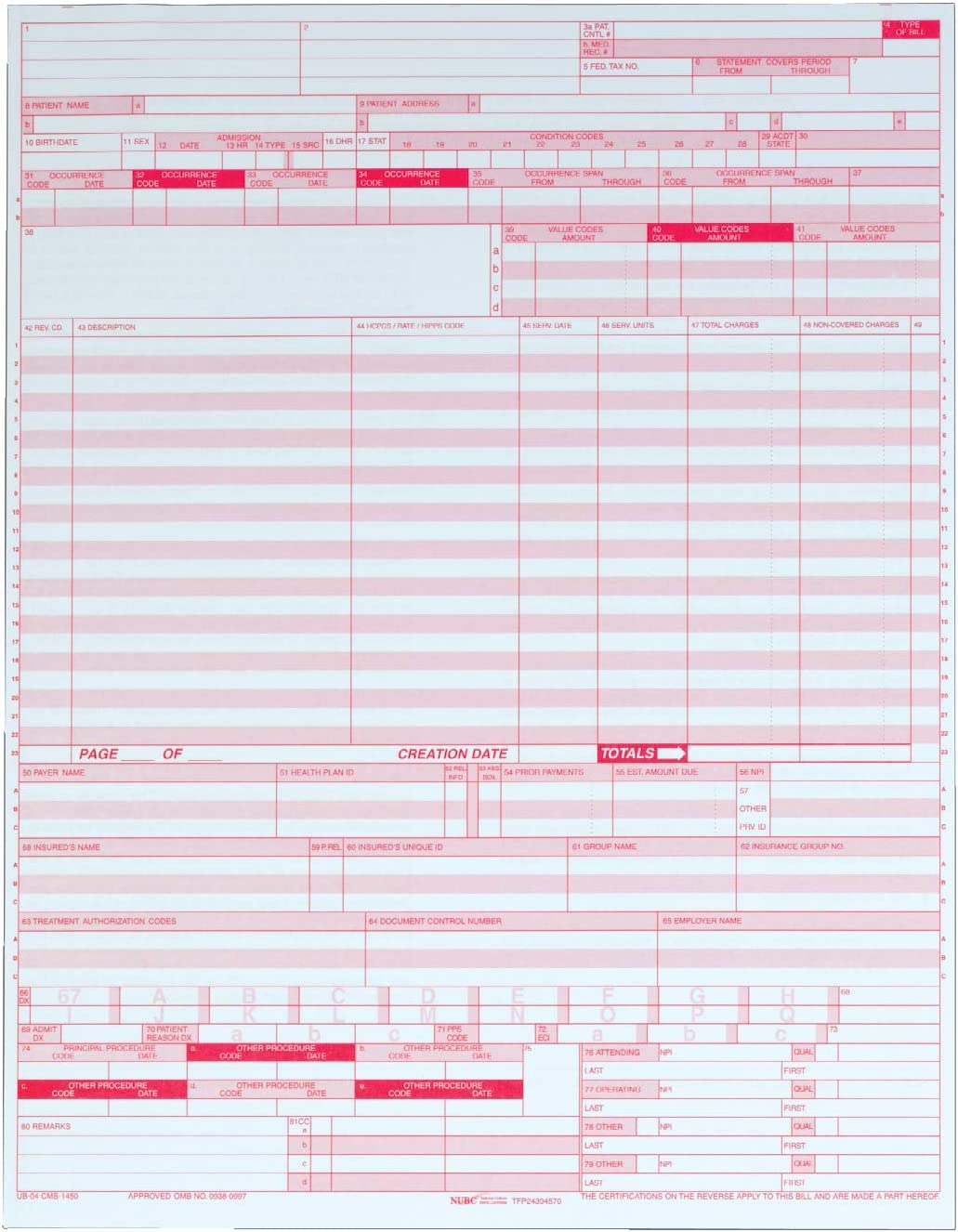 8.5 x 11 Inches 1 Part 2500 Sets per Carton 59870R White Adams UB-04 Continuous Hospital Insurance Claim Form Laser