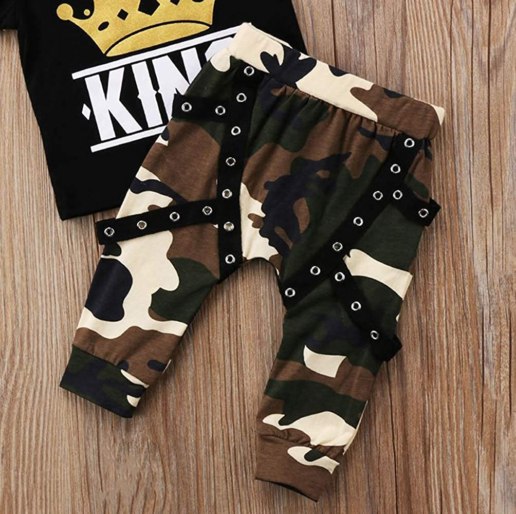 King Words Printed Pullover T-Shirt Cool Design Camo Long Pants Outfits 2 pcs Toddler Boy Kids Clothes Sets