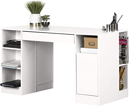 South Shore Crea Craft Table With Open And Closed Storage Pure White Furniture Decor