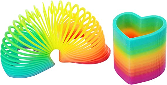 Plastic Magic Rainbow Coil Spring Slinky Colorful Novelties Educational Toy LR