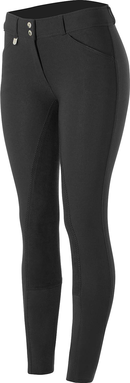 HORZE Pantalones de Montar de Asiento Completo de Cuero para Mujer Grand Prix