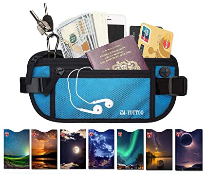 ac43901b26d4 Money Belt for Travel Waist Pouch Wallet Passport Holder With 7 RFID  Blocking Sleeves for Credit Card Passport Security
