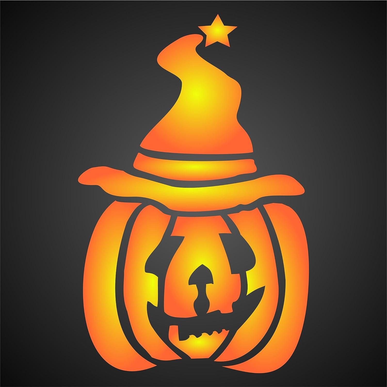 Amazon Com Halloween Pumpkin Stencil 5 X 6 5 Inch S Scary Halloween Pumpkin Wizard Stencils For Painting Template