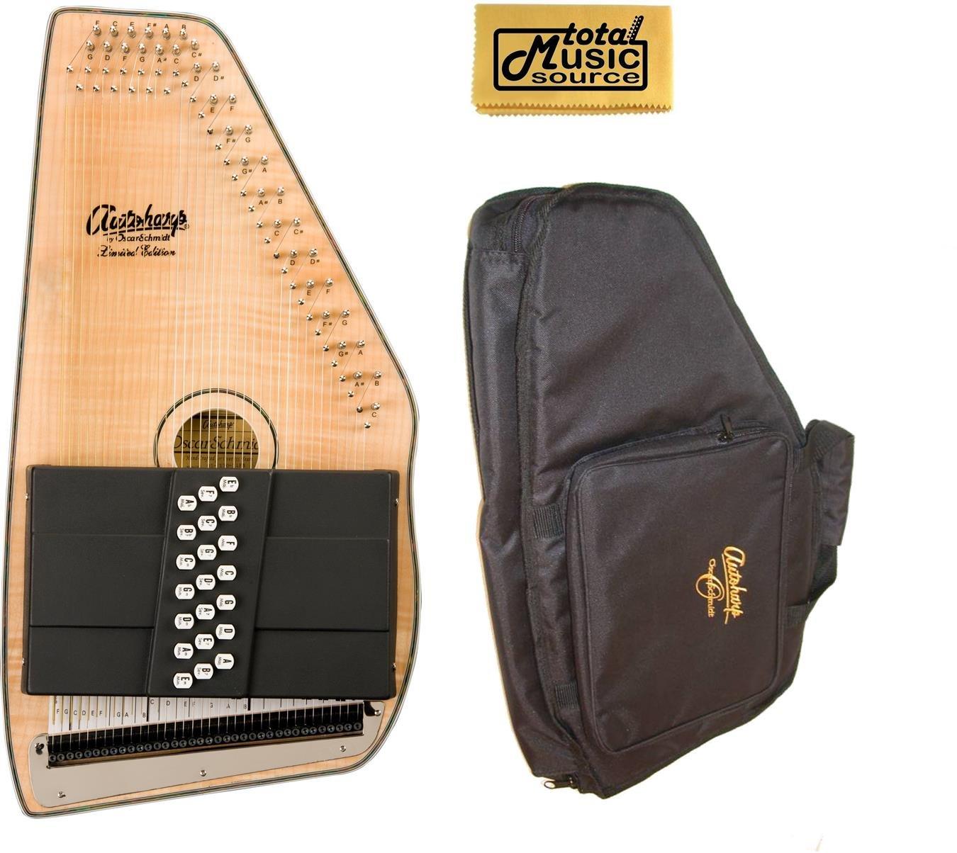 Oscar Schmidt 21 Chord Solid Spruce Autoharp w/ Gig Bag, Flame Maple, OS11021FN