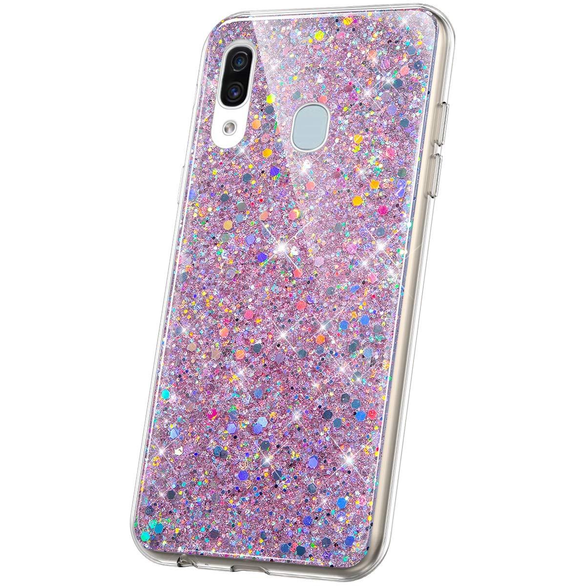 JAWSEU Compatibile con Samsung Galaxy A20//A30 Custodia Brillantini Bling Glitter Morbido Silicone TPU Cristallo Chiaro Strass Protettiva Cover Antiuro Bumper Case per Galaxy A20//A30,Rosso