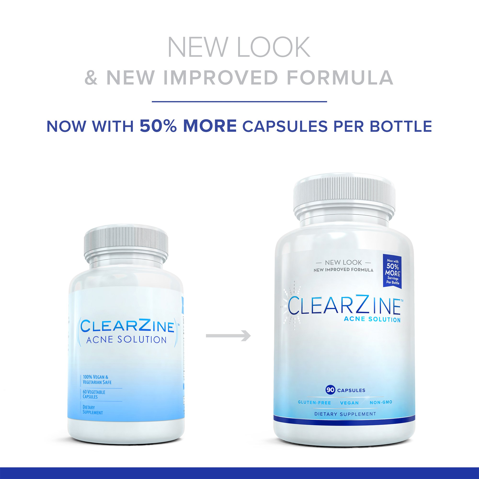 ClearZine Acne Pills for Teens & Adults   Clear Skin Supplement, Vitamins for Hormonal & Cystic Acne   Stop Breakouts, Oily Skin with Milk Thistle, Pantothenic Acid & Zinc, 2 Bottles, 90 Caps Each by ClearZine (Image #2)