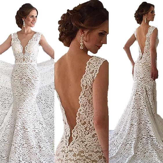 Pandorawedding Women\'s Sleeveless Lace Applique Low-Cut Wedding ...
