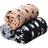 Digiflex Pack of 3 XL Soft Dog Cat Pet Fleece Blankets – Extra Large Plush Throws - Beige Grey and Black - 144cm x 96cm
