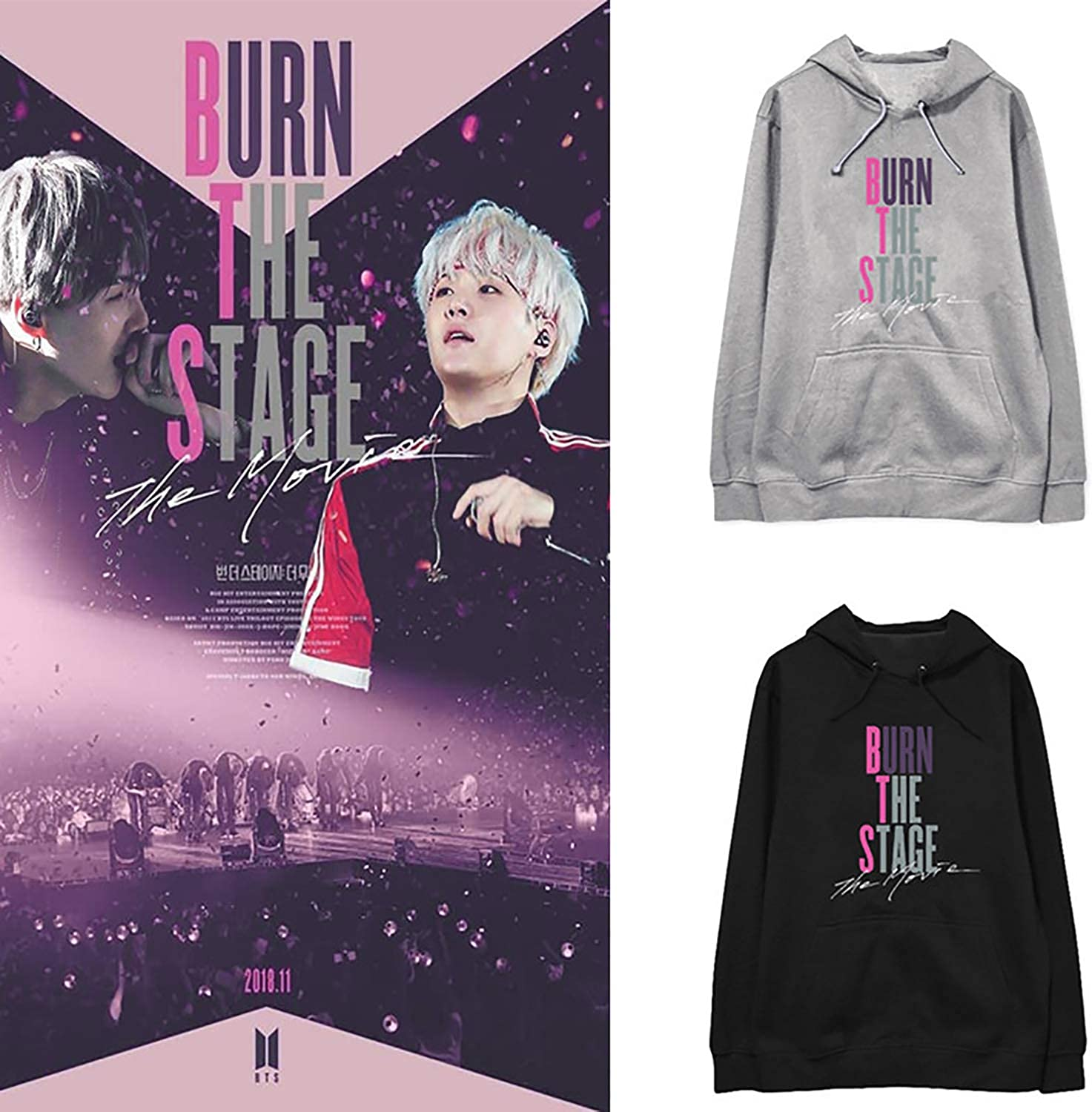 JUNG KOOK Kpop BTS Burn The Stage The Movie Pullover Hoodie Suga Jimin V Sweater Shirts