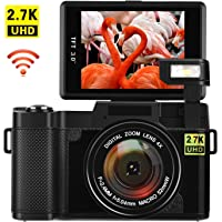 Vlogging Camera Digital Camera 24MP Ultra HD 2.7K WiFi YouTube Camera 3.0 Inch 180 Degree Rotation Flip Screen Camera Retractrable Flashlight