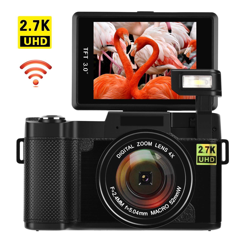 Digital Camera with WiFi 24.0 MP Vlogging Camera 2.7K Ultra HD 3.0 Inch Camera with Flip Screen Retractable Flashlight (GR)