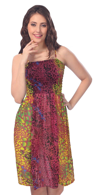 *La Leela* 3 en 1 tonos ligeros mujeres la gasa pura traje baño la falda mini partido ropa playa noche sin mangas verano informal elástico en tubo corto ...