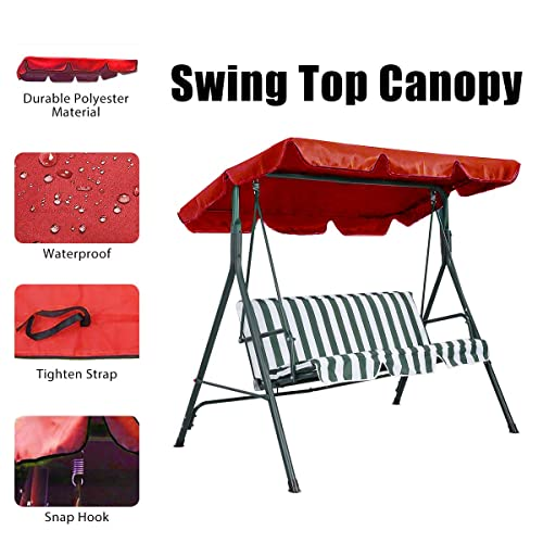 Essort Swing Canopy, 2 to 3 Seaters Waterproof Anti-UV Swing Top Cover Canopy Replacement for Outdoor Porch Patio Swing and Garden Hammock, 190 × 132 × 14cm Red