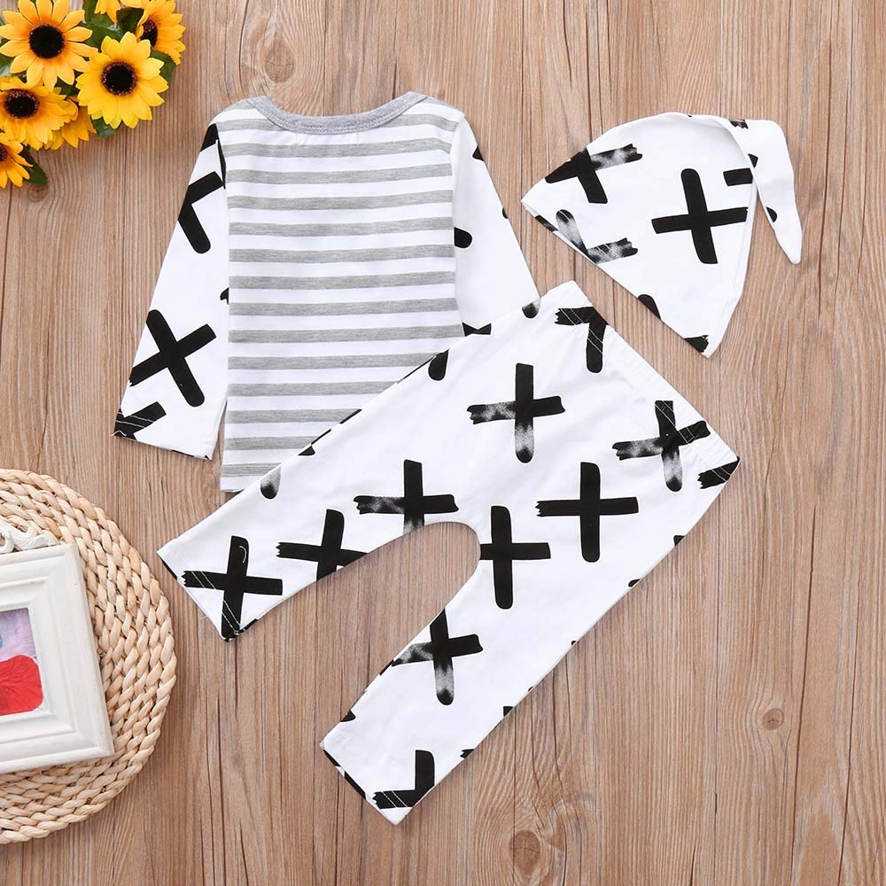 Memela Baby Clothes 3PC Newborn Baby Boys Girls Striped Print Tops+Pants+Hat Casual Set Clothes