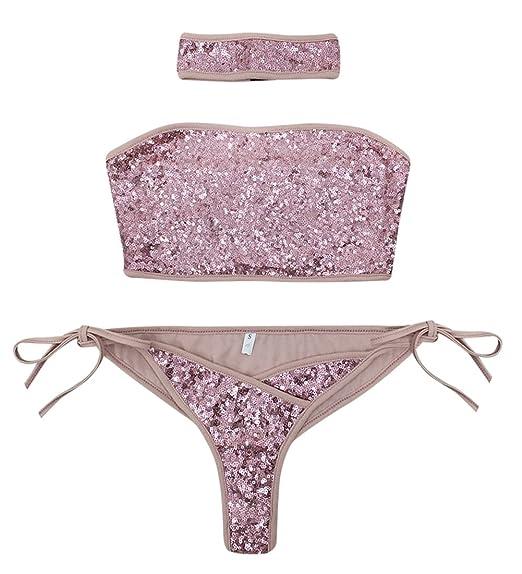 d888535c7152d Amazon.com: RARITY-US Women Sexy Strapless Bikini Set Silver 3 Piece Sequins  Swimsuit Glitter Swimwear Bathing Beachwear with Choker: Clothing