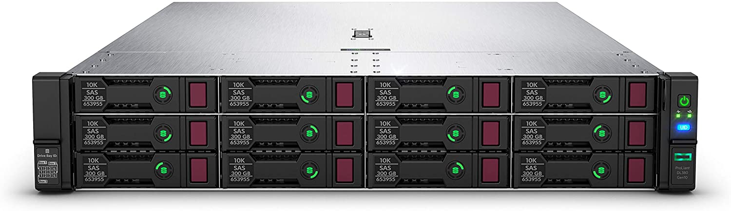 HPE ProLiant DL380 Gen10 Rack Server with one Intel Xeon Gold 5218R Processor, 32 GB Dual Rank Memory, and 8 Small Form Factor (SFF) Drive Bays