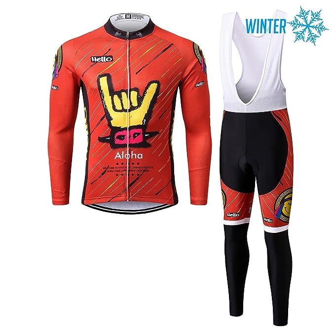 Thriller Rider Sports® Hombre Aloha Red Ciclismo Invierno Térmico Calentar Chaqueta y Pantalones Traje 5X-Large