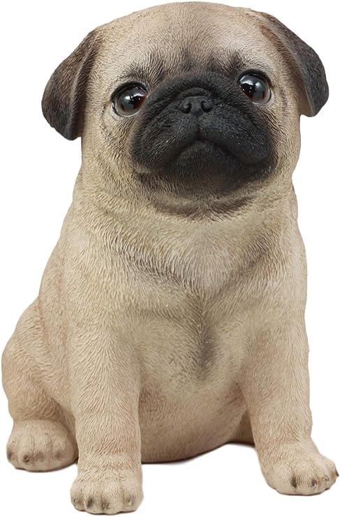 "Ebros Resin Realistic Adorable Pug Dog Teacup Statue Pet Pal Home Decor 5.5/"" H"