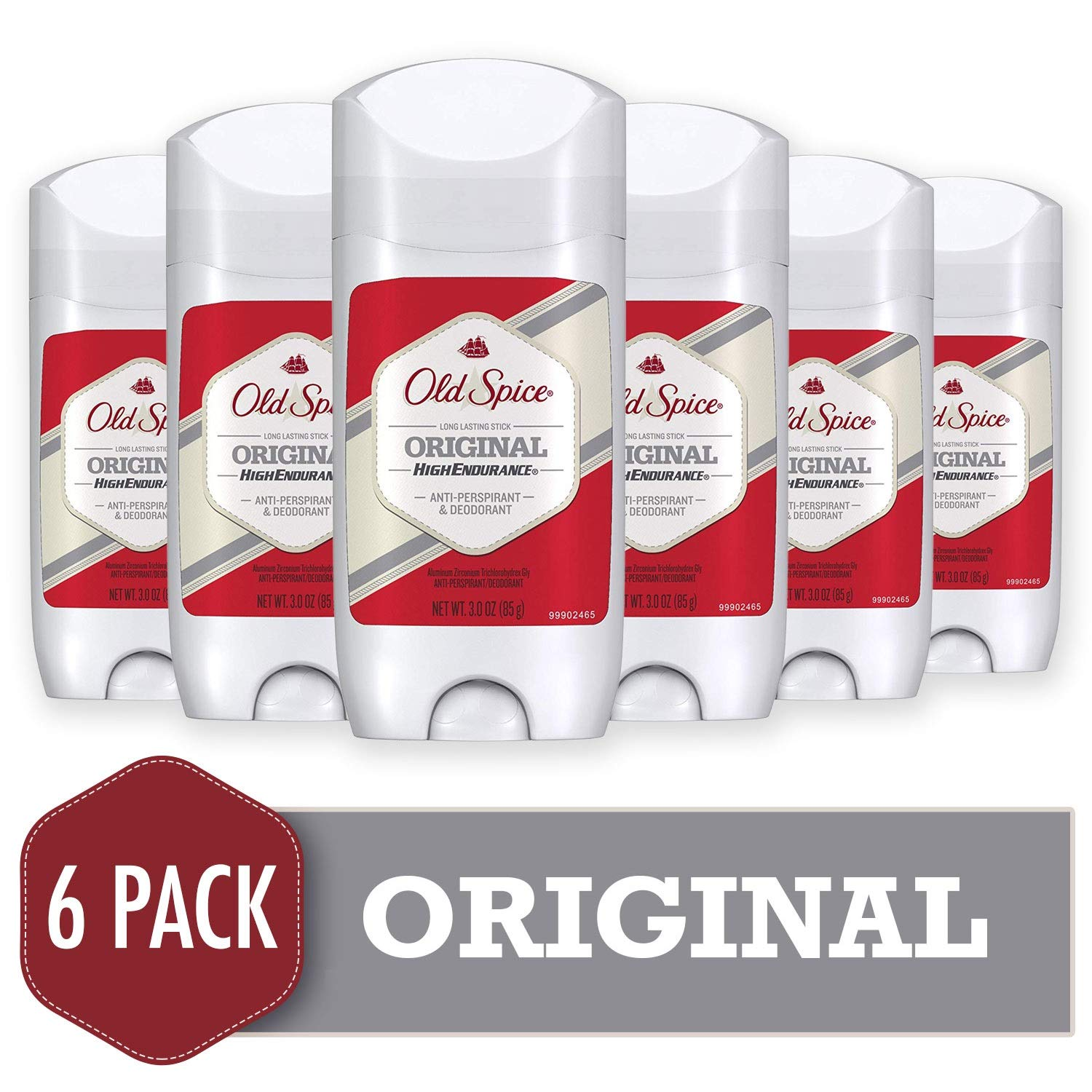 Old Spice Antiperspirant and Deodorant for Men, High Endurance, Original,3 Oz (Pack of 6)