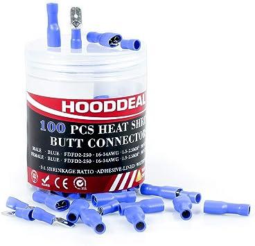 Azul de 6,3 mm macho Spade terminales-Eléctrica Conectores-Paquete De 100