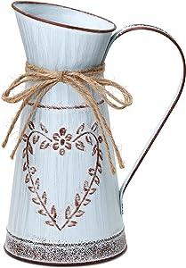HyFanStr Vintage Vase Rustic Pithcer Shabby Chic Decor Metal Vase Flowers French Jug for Home Kitchen Decoration