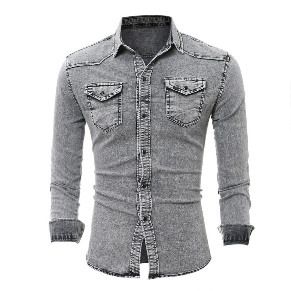 kaifongfu Mens Shirts Retro Denim Shirt Cowboy Blouse Slim Thin Long Tops Blouse