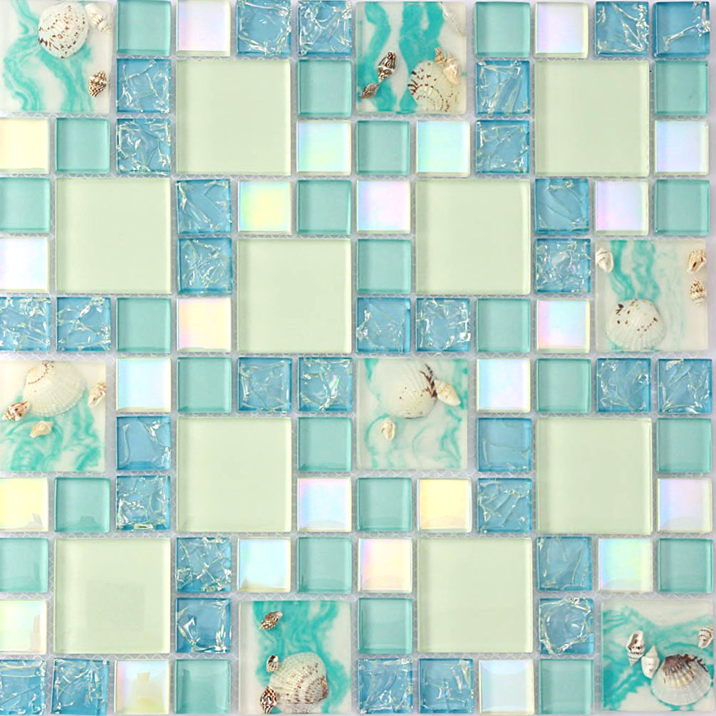 Home Improvement Glass Mosaic Tile Blue And White Backsplash Resin Conch Tiles Iridescent Sea Shell Borders Sheets [Pack of 11PCS(11.8x11.8x0.31 Inches/each)]