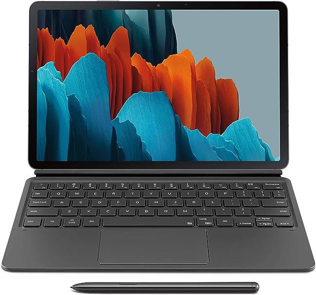 Amazon Com Samsung Galaxy Tab S7 Keyboard Black Ef Dt870ubeguj Computers Accessories