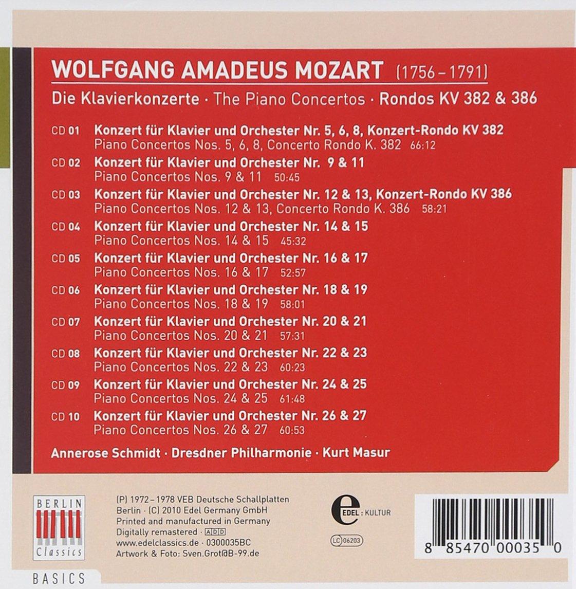 Los Conciertos Para Piano : Schmidt/Dresden Philharmonic, MOZART: Amazon.es: Música