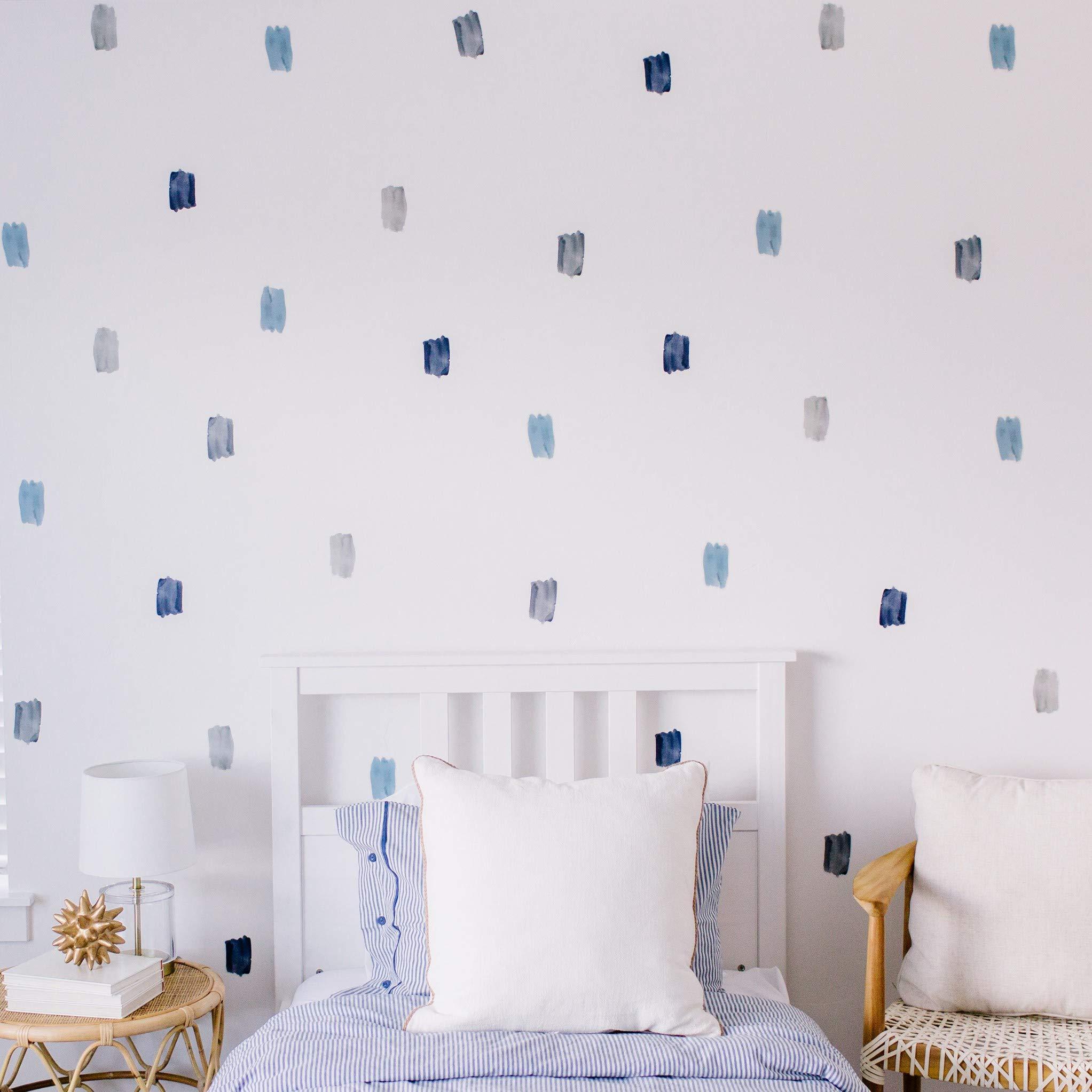 Modern Maxwell Wall Art Decals for Boys Nursery, Bedroom, Living Room ''Noah'' Brush Strokes Room Sticker 64 Pieces