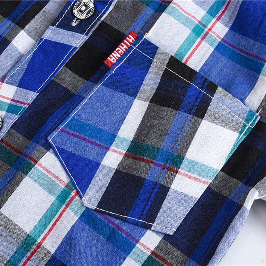 TIANRUN Baby//Toddler Boys Plaid Pocket Short Sleeve T-Shirt Button Down Shirt with Button Tabs