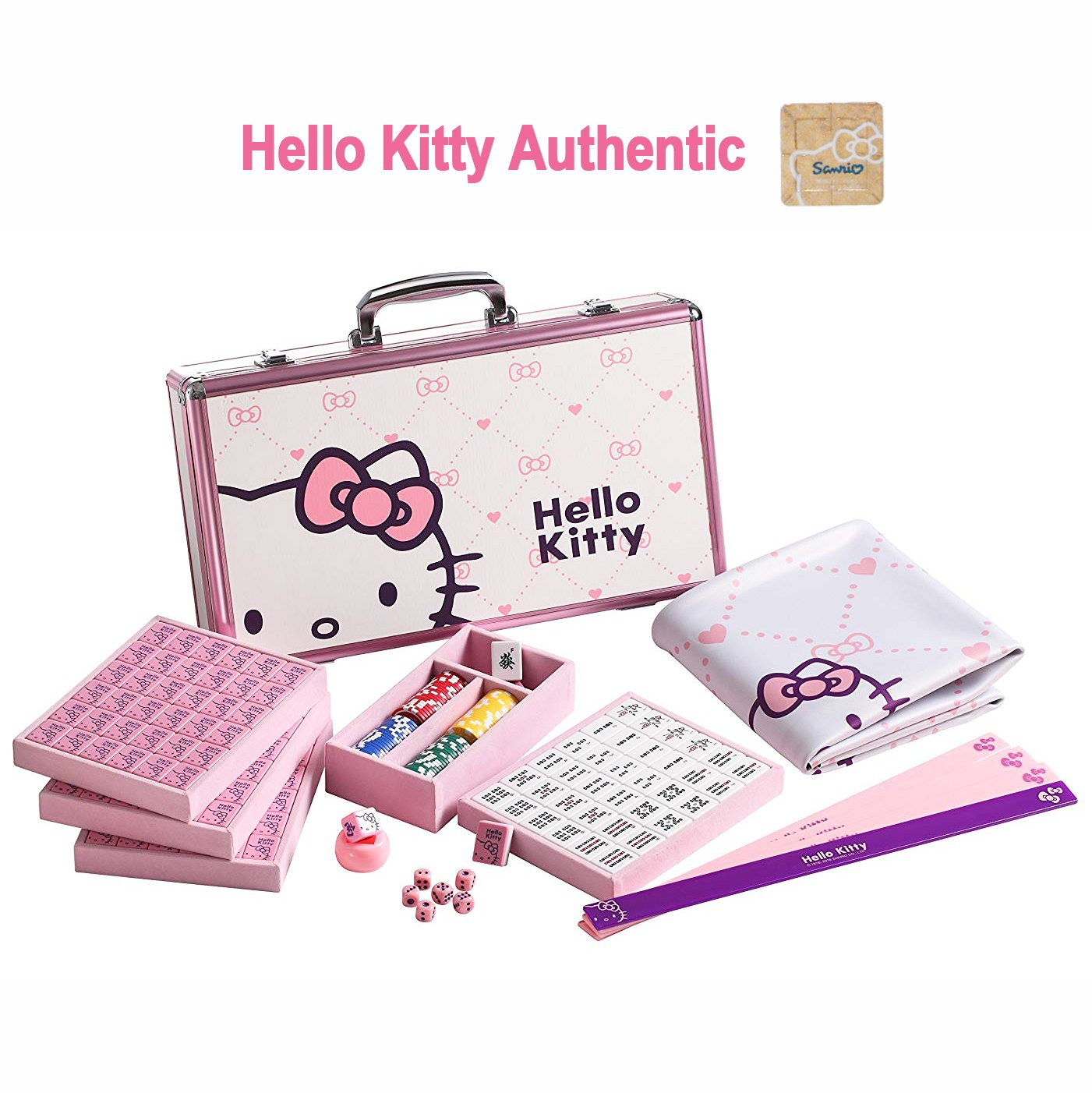 Hello Kitty Sanrio ハローキティ 144 Tiles Playing Mat 4 Pushers Pink Aluminum Complete Mahjong Set