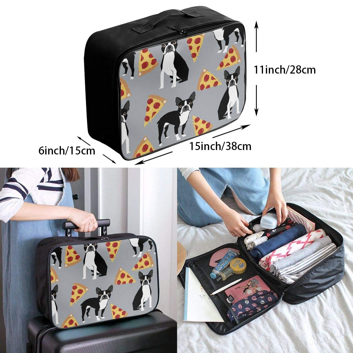 Lightweight Large Capacity Duffel Portable Luggage Bag Grey Boston Terrier Dog Pizza Travel Waterproof Foldable Storage Carry Tote Bag