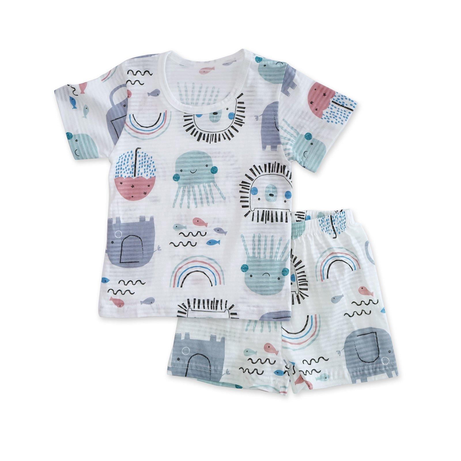 MiNiK Toddler Kids Boys Girls Cotton Pajama Short Sleeve Set - Summer Juju (3T-4T)