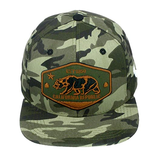 e05aabaea25 Top Level California Republic Bear High Definition Embroidery Snapback  Baseball Cap Hat Camo Army Green