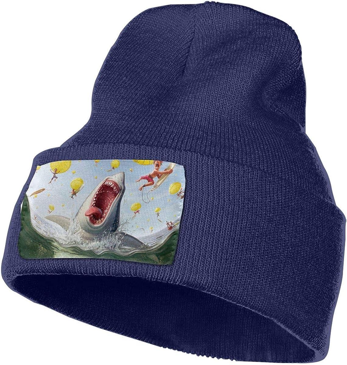 Shark-Humor Warm Knit Winter Solid Beanie Hat Unisex Skull Cap