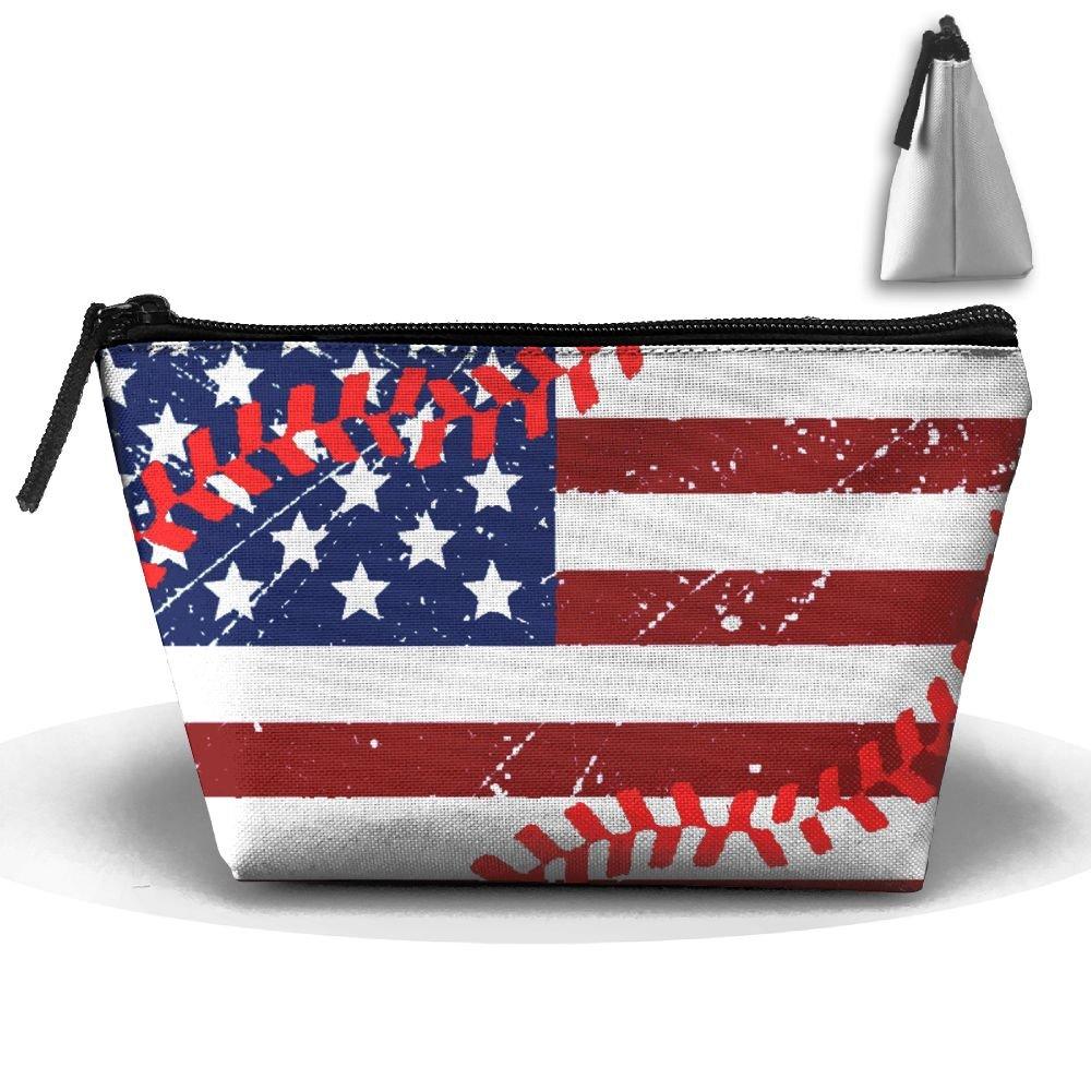 5b03167b3815 Enuain USA American Flag Baseball Vintage Makeup Bag Travel Cosmetic ...