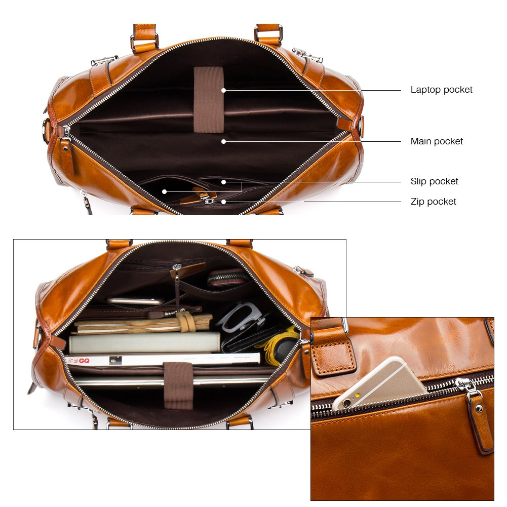 MANTOBRUCE Leather Briefcase Weekender Overnight Duffel Bag Gym Sports Luggage Bags for Men Women by MANTOBRUCE (Image #6)