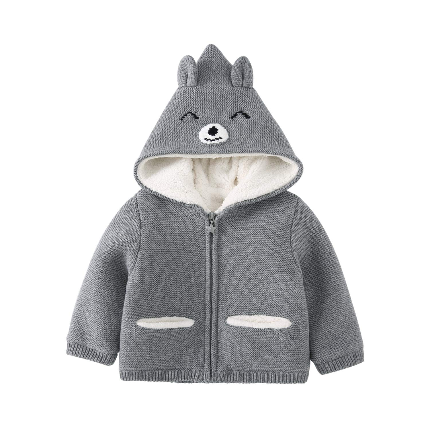pureborn Toddler Baby Boy Hooded Cartoon Bear Zip-Up Sweater Jacket with Plush Lining Gray 2-3 Years by pureborn