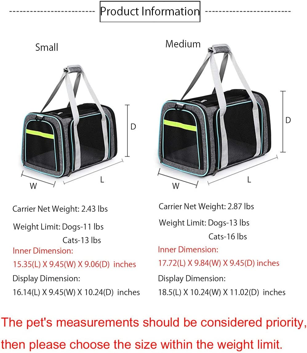 BETOP HOUSE Soft-Sided Airline Approval Pet Travel Carrier Bag for Dogs and Cats