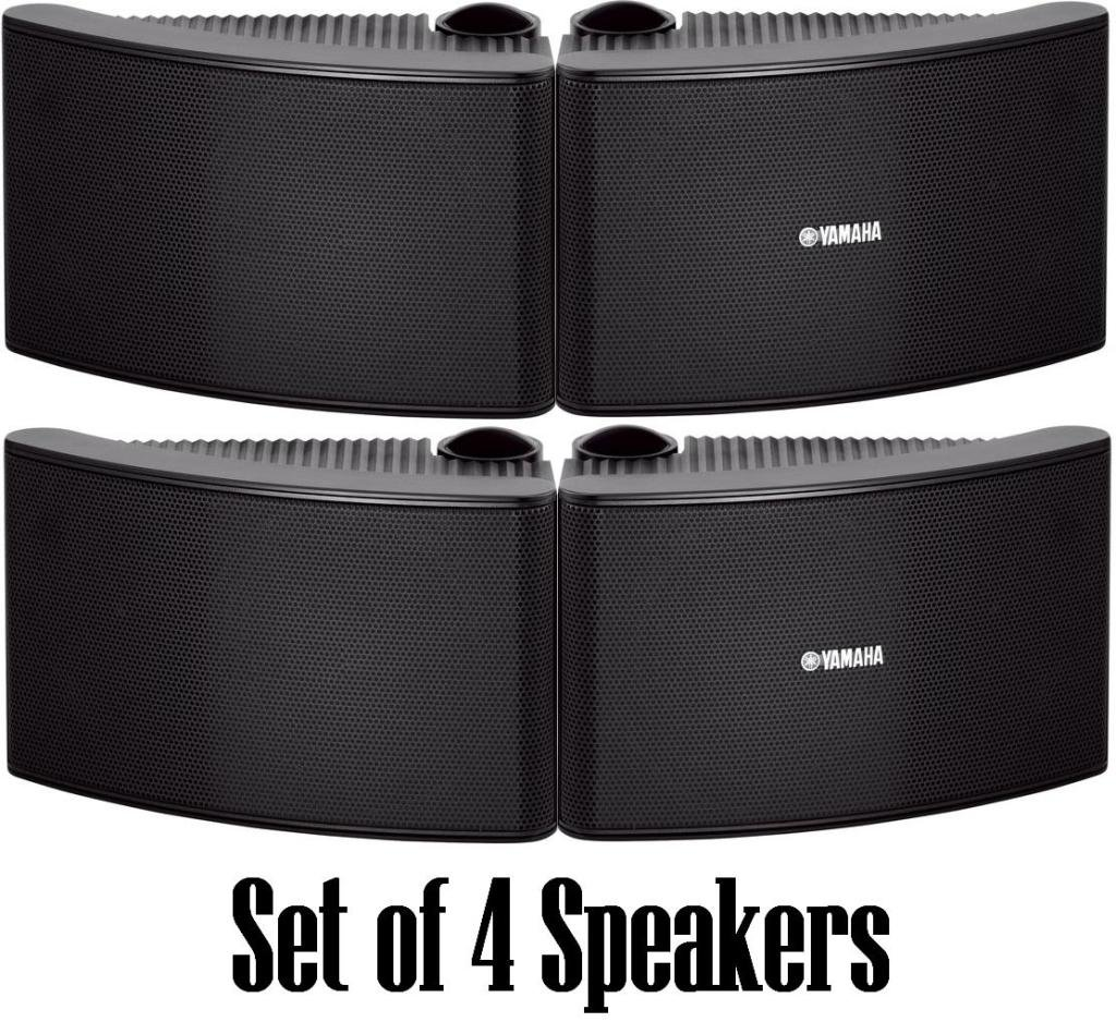 Yamaha All Weather Outdoor / Indoor Wall Mountable Natural Sound 150 watt 2 way Acoustic Suspension Speakers - Set of 4 - Black - with 100ft 16 AWG Speaker Wire - Compatible with All Audio / Video Home Theater Sound Systems, Components, CD Players, or Rec by YAMAHA