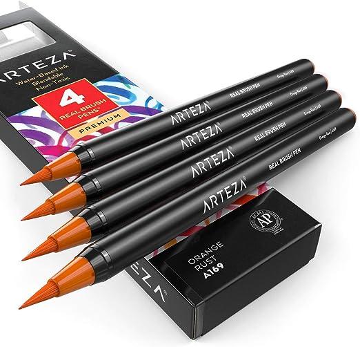 Arteza Rotuladores punta pincel (A169 Naranja Óxido) | Pack de 4 ...