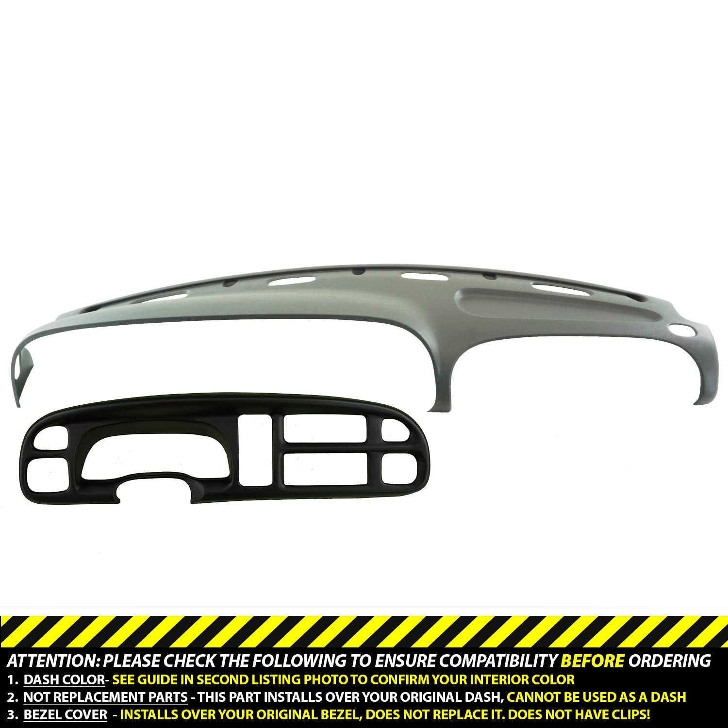 DashSkin Molded Dash & Bezel Cover Kit Compatible with 99-01 Dodge Ram in Mist Grey