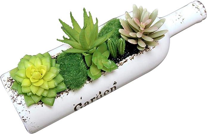 XuanMax Botella de plástico artificial con plantas suculentas, plantas artificiales de simulación, flor de bonsái con maceta, decoración de interiores, adornos para colgar al aire libre: Amazon.es: Hogar