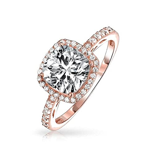 3ct Square Cushion Cut Solitaire Halo Aaa Cz Engagement Ring Thin Pave Band Rose Gold Plated 925 Sterling Silver