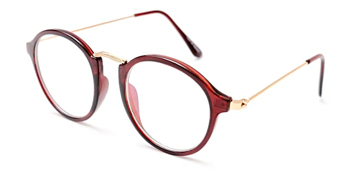 d632241567 Image Unavailable. Image not available for. Colour  TheWhoop Round  Spectacle Frame Brown Golden Wayfarer Eyeglass For Men And Women
