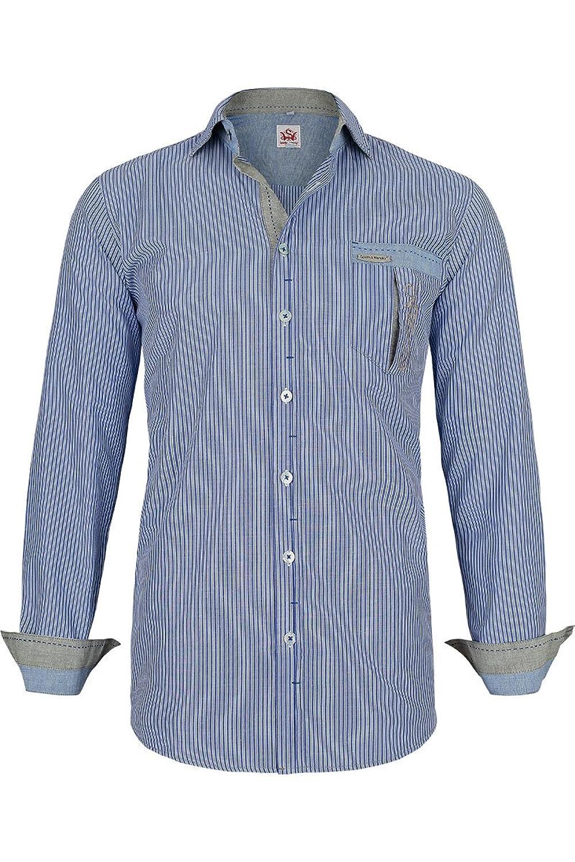 Herren Spieth & Wensky Herrenhemd SLIM-Line weiß blau gestreift, blau,