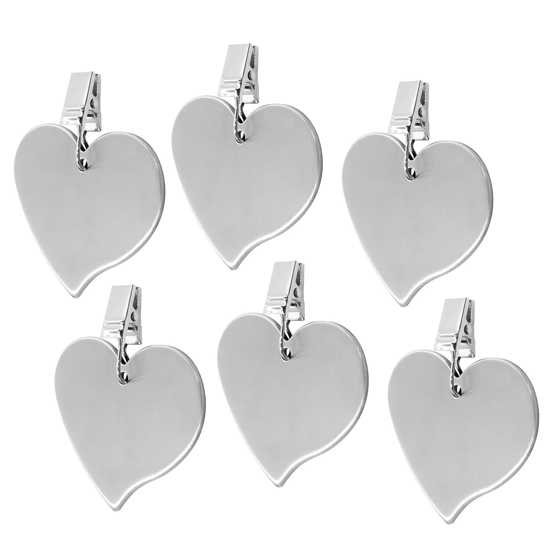 TEKEFT Set of 6 Stainless Steel Heart Shaped Table Cover Tablecloth Weights (6)